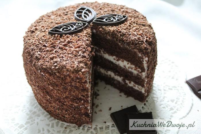 063 Tort mocno czekoladowy zmasą śmietanową KuchniaWeDwoje.pl