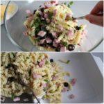 4. Wymieszać makaron zszynką, oliwkami inatką pietruszki, anastępnie przełożyć donaczynia żaroodpornego