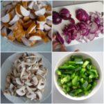 2. Pokroić kiełbasę, cebulę, pieczarki ipaprykę