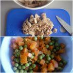 2. Pokroić mięso imarchewkę wkostkę