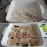 5. Dowysmarowanego naczynia żaroodpornego przełożyć ugotowany ryż ikawałki ryby