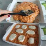 6. Następnie rozsmarować sos iułożyć plastry mozzarelli