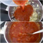 3. Wlać pomidory donaczynia zcebulką igotować doczasu aż sos będzie gęsty