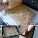 4. Ściągnać papier zbiszkopta iprzełożyć ciasto spowrotem doformy