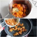 4. Kawałki kurczaka polać oliwą iposypać przyprawami; podsmażyć