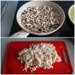 3. Podsmażyć pieczarki ipokroić szynkę