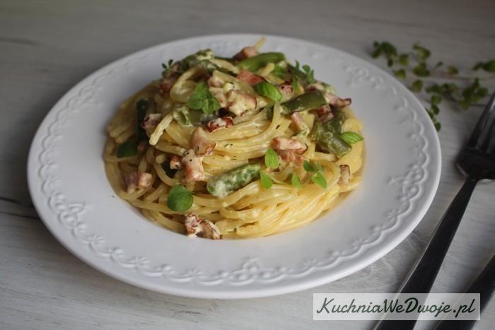 309 Spaghetti carbonarra zfasolka szparagowa KuchniaWeDwoje_pl 2