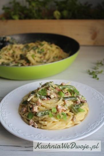 309 Spaghetti carbonarra zfasolka szparagowa KuchniaWeDwoje_pl 3