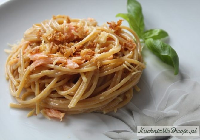 426 Spaghetti carbonara z lososiem KuchniaWeDwoje_pl 1