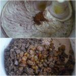 6. Dopołowy masy dodać kakao, rodzynki iczekoladę