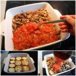 7. Ułożyć warstwami bakłażana, mięso isos